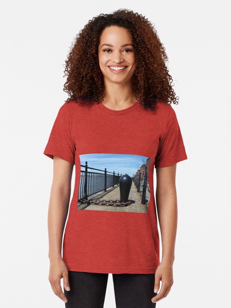 Alternate view of Old Boat Chain Next To The River Mersey, Liverpool, Merseyside Tri-blend T-Shirt