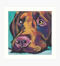 Chocolate Labrador Retriever Dog Bright colorful pop dog art Art Print