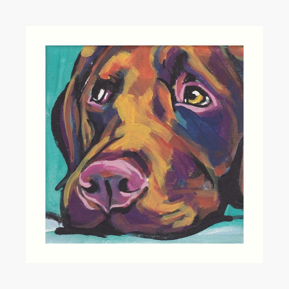 Schokoladen-Labrador retriever-Hund Helle bunte Pophundekunst Kunstdruck