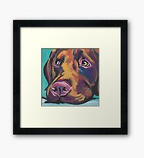 Lámina enmarcada Chocolate Labrador Retriever Dog Arte pop colorido brillante
