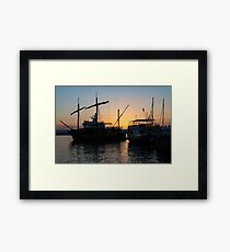 Just a Sliver of the Sun - Antique Tourist Boats in Syracuse Sicily Framed Print