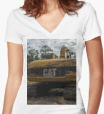 Excavator Back Women's Fitted V-Neck T-Shirt