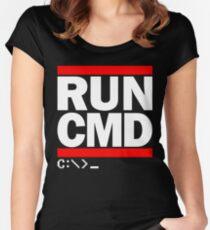 RUN CMD C:\>_ Women's Fitted Scoop T-Shirt