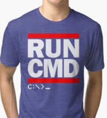 RUN CMD C:\>_ Tri-blend T-Shirt