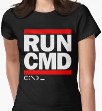 RUN CMD C:\>_ Womens Fitted T-Shirt