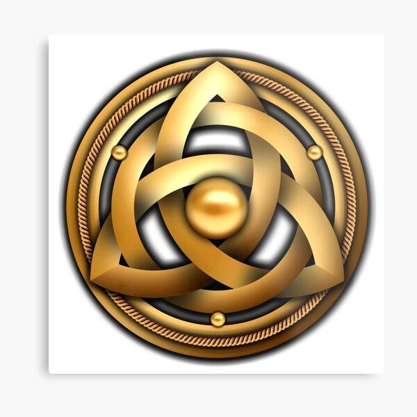 Gold Celtic Triquetra Shield Metal Print