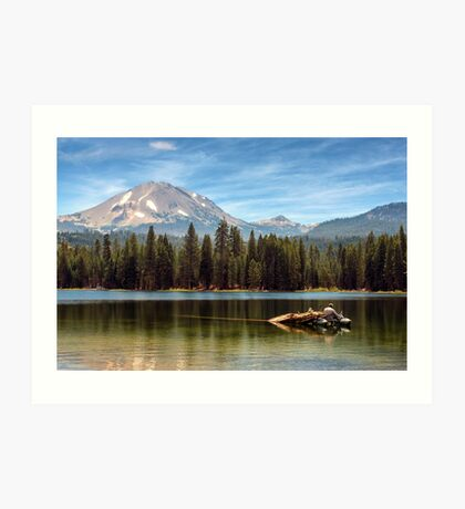 Fishing By Mount Lassen Art Print