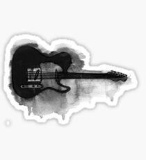 black and white electric guitar Sticker