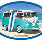 Split Window VW Bus Surfer Hippie Van on Beach Oval by Frank Schuster