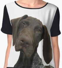 Glossy Grizzly German Shorthaired Pointer Chiffon Top