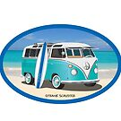 Hippie Split Window VW Bus Teal & Surfboard Oval at Beach by Frank Schuster