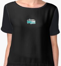 Hippie Split VW Bus Teal & Surfboard Peace Chiffon Top