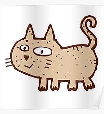 Funny cute cartoon cat Poster