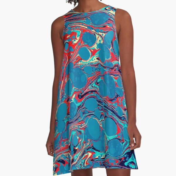 Psychedelic Blue Red Marbled Paper A-Line Dress