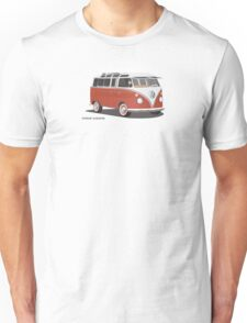 Hippie 21 Window VW Bus Red/White Samba Van Unisex T-Shirt