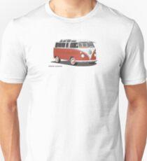 Hippie 21 Window VW Bus Red/White Samba Van Unisex T-Shirt