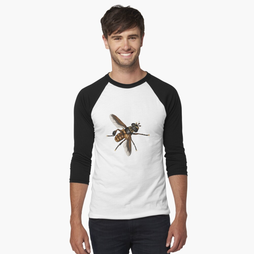 Feather-legged fly - Trichopoda subdivisa Men's Baseball ¾ T-Shirt Front