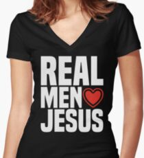 Real Men Love Jesus - Religious Christian Heart  Women's Fitted V-Neck T-Shirt