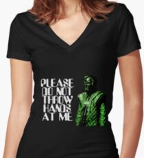 Please Do Not Throw Hands At Me Women's Fitted V-Neck T-Shirt