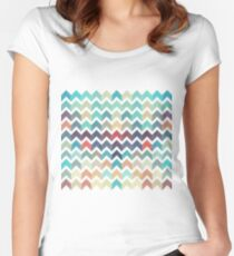 Watercolor Chevron Pattern Women's Fitted Scoop T-Shirt