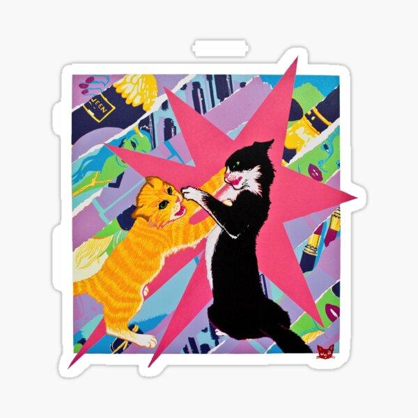 Fighting Cats Sticker
