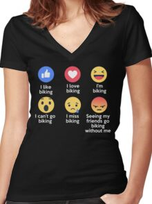 Funny I Love Biking Emoji T-Shirt Designs Women's Fitted V-Neck T-Shirt