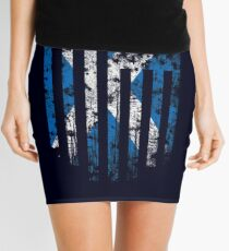 Scotland and America Flag Combo Distressed Design Mini Skirt