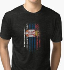 Serbia and America Flag Combo Distressed Design Tri-blend T-Shirt