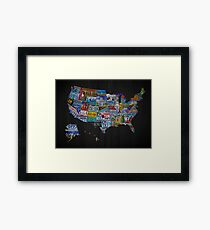 License plate map of The United States Of America Framed Print