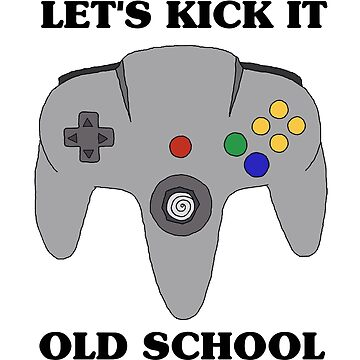 N64 Let's Kick It Old School Nintendo 64 Inspired Video Game Controller Illustration Drawling by blueversion