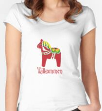 Dala Horse Välkommen Fitted Scoop T-Shirt
