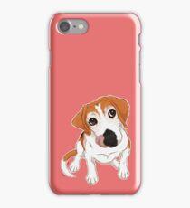 Hungry Beagle Dog - Pink Background / hound dog food foodie treats cute begging dog art artwork iPhone Case/Skin