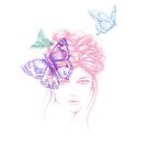 butterfly hair girl by Lara Wolf