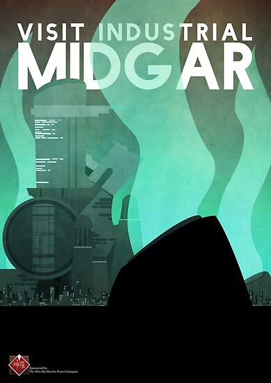 Midgar Reiseplakat von Andrew Glazar
