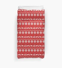 Shiba Inu Silhouettes Christmas Sweater Pattern Duvet Cover