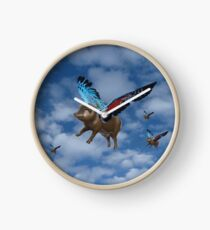 If Pigs Could Fly - not just another pink pig Clock