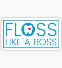 Floss like a boss - tooth with heart logo Sticker