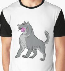 Timber Wolf Holding Plumeria Flower Drawing Graphic T-Shirt