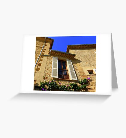 Cream Shutters And Blue Skies Greeting Card