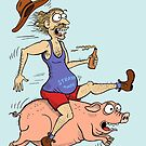 Man Riding Pig by Jed Dunstan