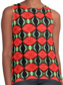 Red Flower Petal With Raindrops Abstract Design Contrast Tank