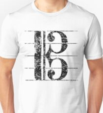 Alto Clef, Viola Key Sheet Lines Vintage Black Unisex T-Shirt
