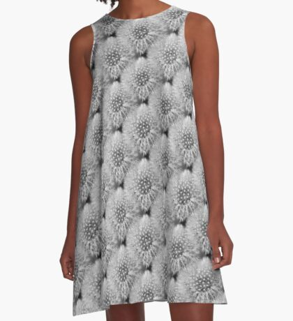 Fluffy White Dandelion In Black And White A-Line Dress