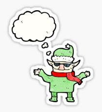 cartoon christmas elf with sunglasses Sticker
