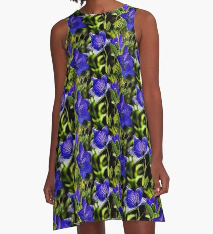 Blue Flowers Nature Art Design A-Line Dress