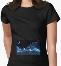 Cloudy Moon Womens Fitted T-Shirt