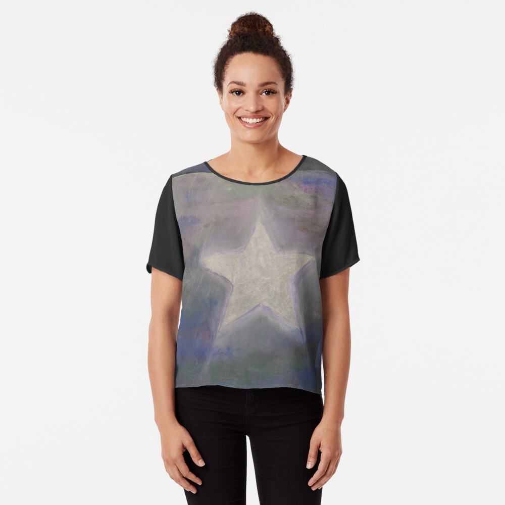 Stern silber - Star silver used look Chiffon Top