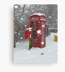Red Telephone Box. Winter. England. Canvas Print