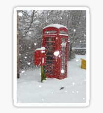 Red Telephone Box. Winter. England. Sticker
