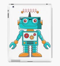 hipster robot, mr. robot, robot, scifi, funny robot, machine, cartoon robot iPad Case/Skin